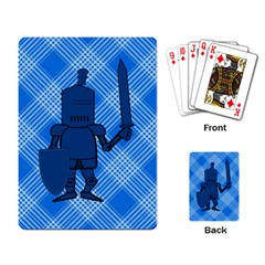 Blue Knight On Plaid Playing Cards Single Design