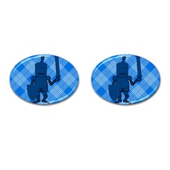 Blue Knight On Plaid Cufflinks (Oval)