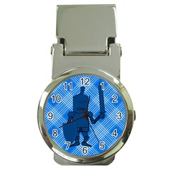 Blue Knight On Plaid Money Clip with Watch