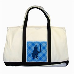 Blue Knight On Plaid Two Toned Tote Bag