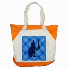 Blue Knight On Plaid Accent Tote Bag