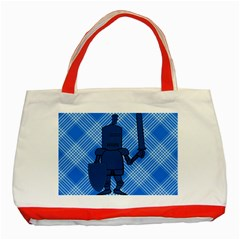 Blue Knight On Plaid Classic Tote Bag (Red)