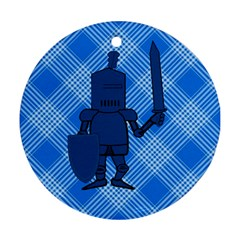 Blue Knight On Plaid Round Ornament (Two Sides)