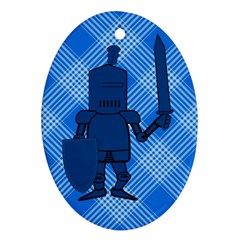 Blue Knight On Plaid Oval Ornament (Two Sides)
