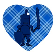 Blue Knight On Plaid Heart Ornament (two Sides)