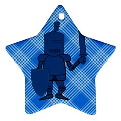 Blue Knight On Plaid Star Ornament (Two Sides)