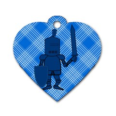 Blue Knight On Plaid Dog Tag Heart (One Sided)
