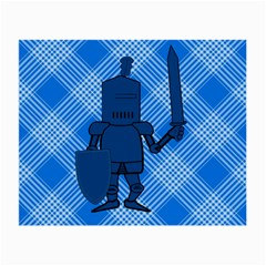 Blue Knight On Plaid Glasses Cloth (Small, Two Sided)