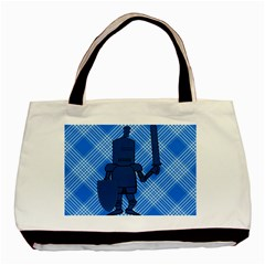 Blue Knight On Plaid Twin-sided Black Tote Bag