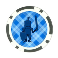 Blue Knight On Plaid Poker Chip