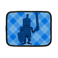 Blue Knight On Plaid Netbook Sleeve (small)