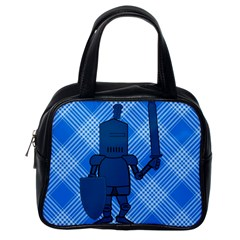 Blue Knight On Plaid Classic Handbag (one Side)