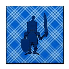 Blue Knight On Plaid Face Towel