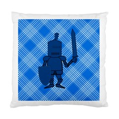 Blue Knight On Plaid Cushion Case (Two Sided)