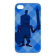 Blue Knight On Plaid Apple Iphone 4/4s Premium Hardshell Case