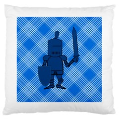 Blue Knight On Plaid Large Cushion Case (two Sided)