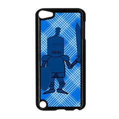 Blue Knight On Plaid Apple iPod Touch 5 Case (Black)
