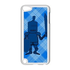 Blue Knight On Plaid Apple Ipod Touch 5 Case (white)