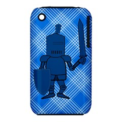 Blue Knight On Plaid Apple iPhone 3G/3GS Hardshell Case (PC+Silicone)