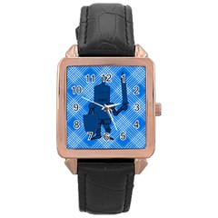 Blue Knight On Plaid Rose Gold Leather Watch