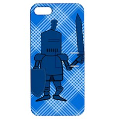 Blue Knight On Plaid Apple Iphone 5 Hardshell Case With Stand