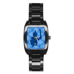 Blue Knight On Plaid Stainless Steel Barrel Watch