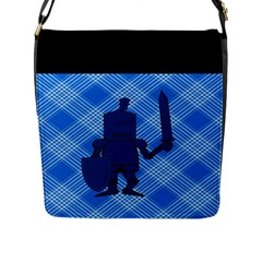 Blue Knight On Plaid Flap Closure Messenger Bag (Large)