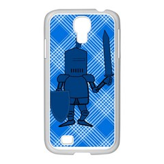 Blue Knight On Plaid Samsung GALAXY S4 I9500/ I9505 Case (White)