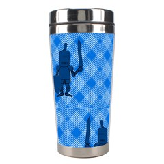 Blue Knight On Plaid Stainless Steel Travel Tumbler