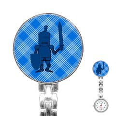Blue Knight On Plaid Stainless Steel Nurses Watch