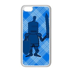 Blue Knight On Plaid Apple iPhone 5C Seamless Case (White)