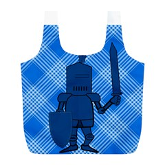 Blue Knight On Plaid Reusable Bag (L)