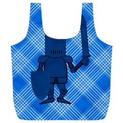 Blue Knight On Plaid Reusable Bag (XL)
