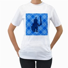 Blue Knight On Plaid Women s T-Shirt (White)
