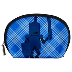 Blue Knight On Plaid Accessory Pouch (large)