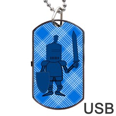 Blue Knight on Plaid Dog Tag USB Flash (Two Sides)