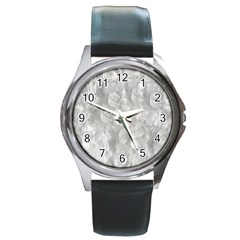 Abstract In Silver Round Leather Watch (silver Rim)