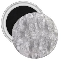 Abstract In Silver 3  Button Magnet