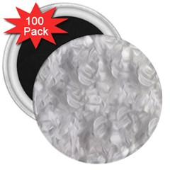 Abstract In Silver 3  Button Magnet (100 pack)