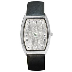 Abstract In Silver Tonneau Leather Watch