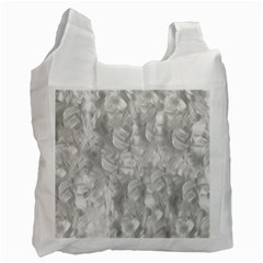 Abstract In Silver White Reusable Bag (One Side)