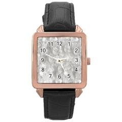 Abstract In Silver Rose Gold Leather Watch