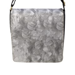 Abstract In Silver Flap Closure Messenger Bag (Large)