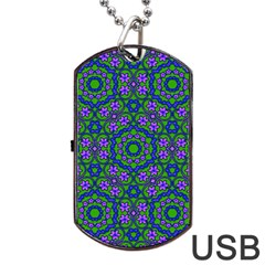 Retro Flower Pattern Dog Tag USB Flash (Two Sides)