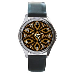 Tribal Diamonds Pattern Brown Colors Abstract Design Round Leather Watch (silver Rim)