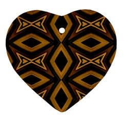 Tribal Diamonds Pattern Brown Colors Abstract Design Heart Ornament