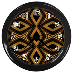 Tribal Diamonds Pattern Brown Colors Abstract Design Wall Clock (Black)