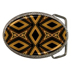 Tribal Diamonds Pattern Brown Colors Abstract Design Belt Buckle (oval)