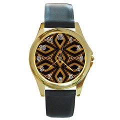 Tribal Diamonds Pattern Brown Colors Abstract Design Round Leather Watch (gold Rim)