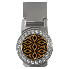 Tribal Diamonds Pattern Brown Colors Abstract Design Money Clip (cz)